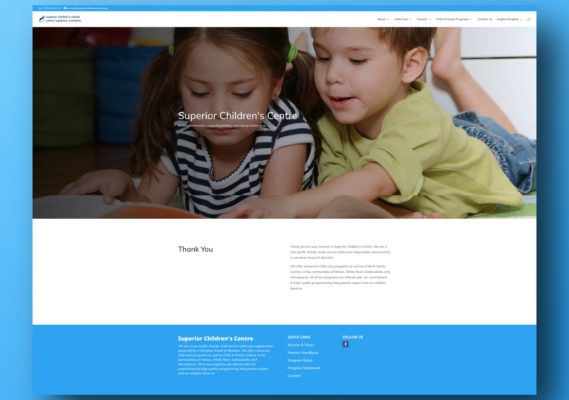 Superior Children's Centre Website 1
